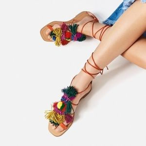 Zara Pom Pom Tassel Lace up Sandals Orange 8.5 39